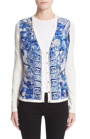 Versace Leaf Print Silk & Cotton Cardigan