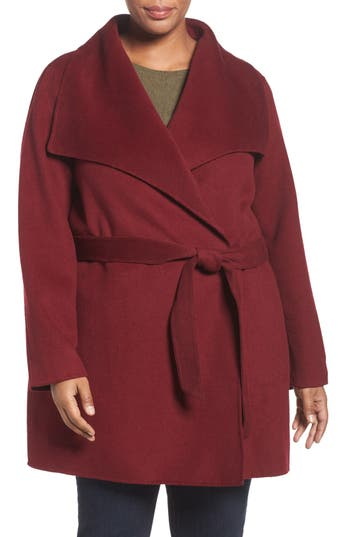 Tahari 'Ella' Wrap Coat (Plus Size)