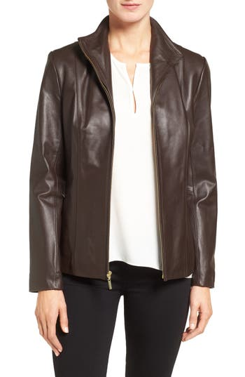 Cole Haan Wing Collar Lambskin Leather Jacket