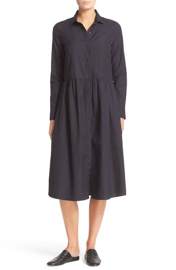 Vince Shirred Cotton Shirtdress