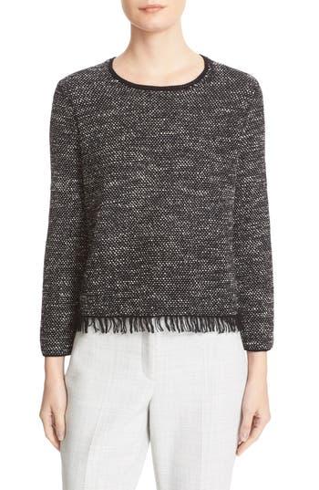 Theory Vendla Tweed Fringe Sweater