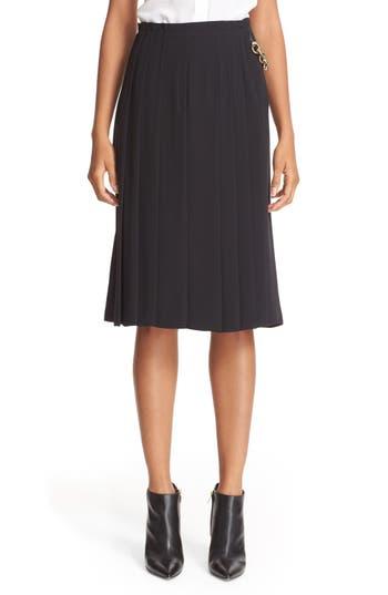 Burberry Rosemorran Chain Trim Mulberry Silk Skirt