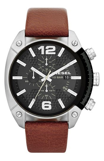 DIESEL® 'Overflow' Chronograph Leather Strap Watch, 46mm x 49mm