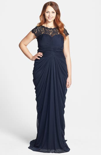 Adrianna Papell Lace Yoke Drape Mesh Gown