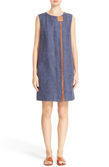 Lafayette 148 New York Dominic Leather Trim Dress