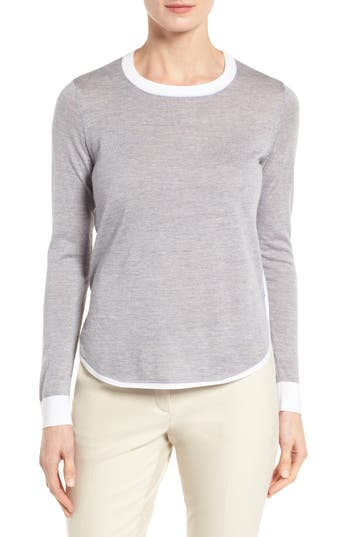 Nordstrom Collection Merino Wool Curved Hem Pullover