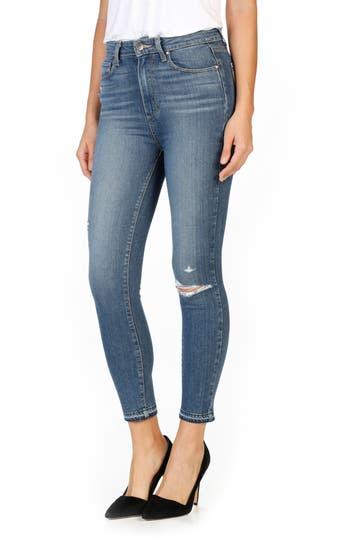 PAIGE Margot High Waist Crop Skinny Jeans (Lexi Destructed)