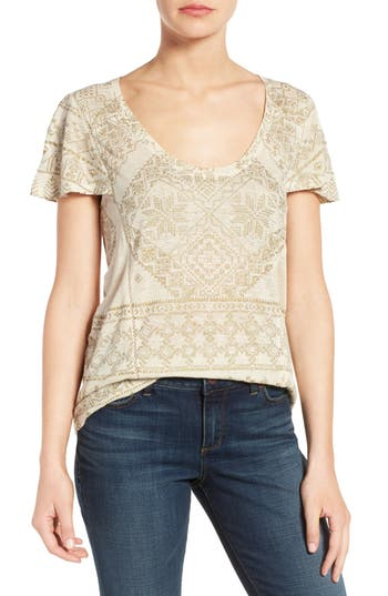 Lucky Brand Metallic Geo Embroidered Knit Top
