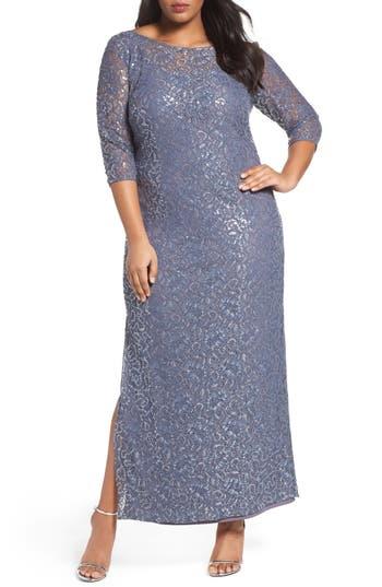 Alex Evenings Illusion Yoke Sequin Lace Column Gown (Plus Size)