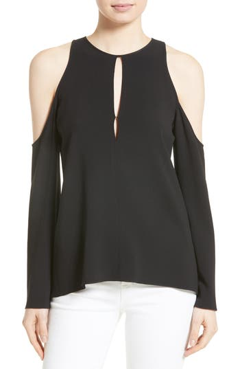 Theory Sarver Cold Shoulder Crepe Top