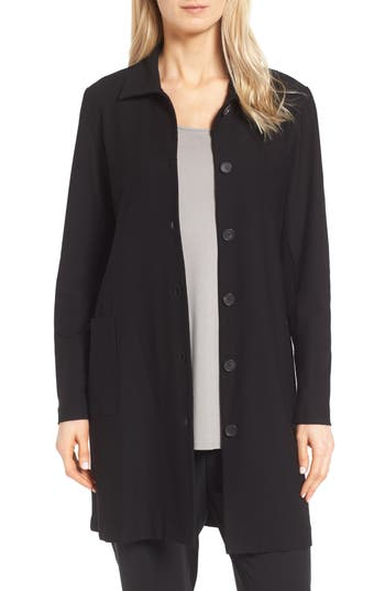 Eileen Fisher Washable Stretch Crepe Classic Collar Coat (Petite)
