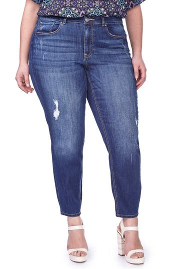 ADDITION ELLE LOVE AND LEGEND Stretch Distressed Skinny Jeans (Plus Size)