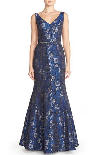 JS Collections Embellished Jacquard Mermaid Gown