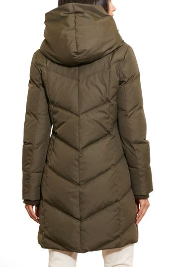 Lauren Ralph Lauren Quilted Hooded Coat with Knit Trim