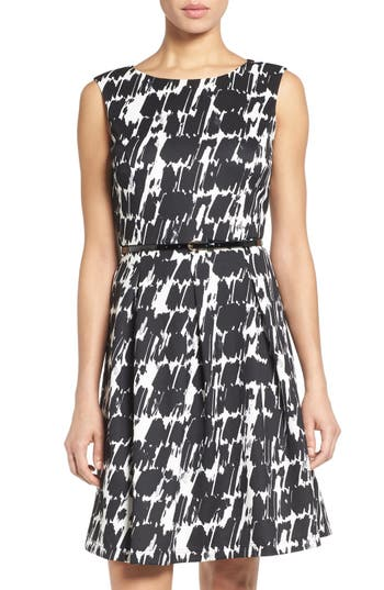 Ellen Tracy Belted Print Scuba Fit & Flare Dress