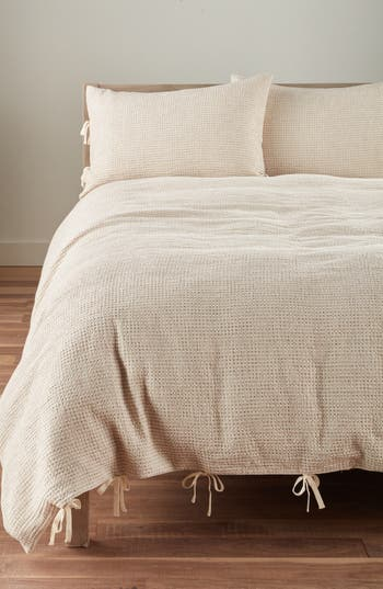Nordstrom at Home Waffle Knit Washed Cotton & Linen Duvet Cover