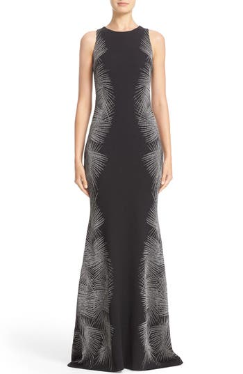 St. John Collection Sleeveless Metallic Palm Jacquard Trumpet Gown