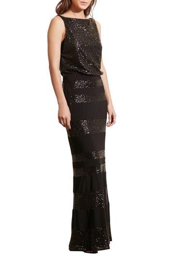 Lauren Ralph Lauren Sequin Mesh Blouson Gown (Regular & Petite)