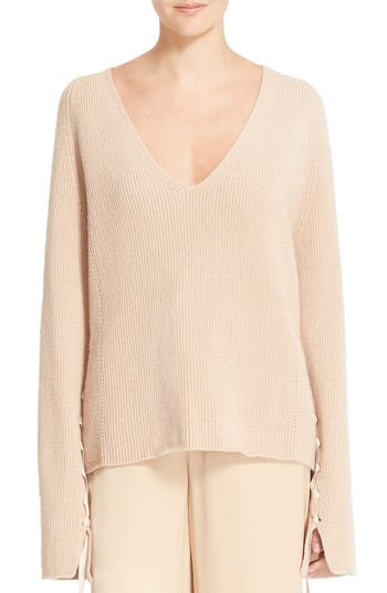 Helmut Lang Lace-Up Sleeve Wool & Cashmere Sweater