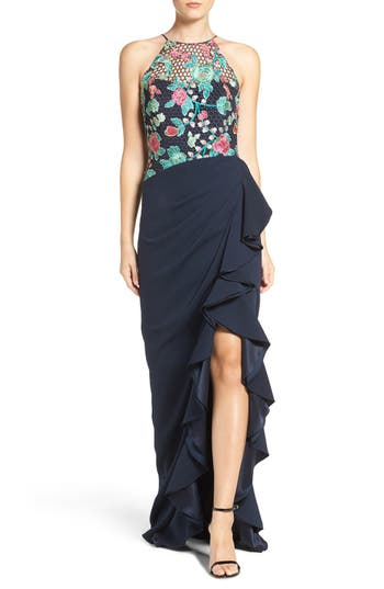 Badgley Mischka Embroidered Gown