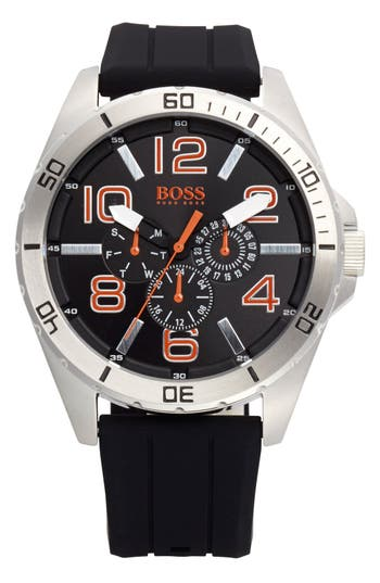 BOSS Orange 'Big Time' Multifunction Silicone Strap Watch, 48mm