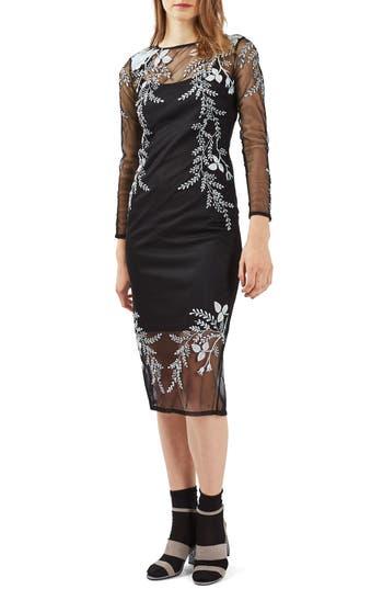 Topshop Embroidered Midi Dress