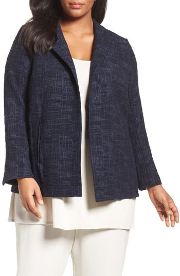 Eileen Fisher Crosshatch Jacquard Jacket (Plus Size)