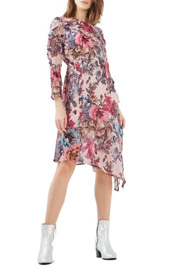 Topshop Pop Floral Ruffle Midi Dress
