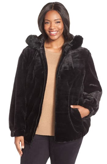 Gallery Grooved Faux Fur Hooded Jacket (Plus Size)