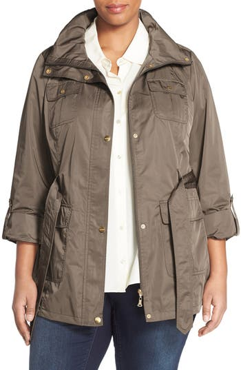 Ellen Tracy Short Techno Trench Coat (Plus Size)