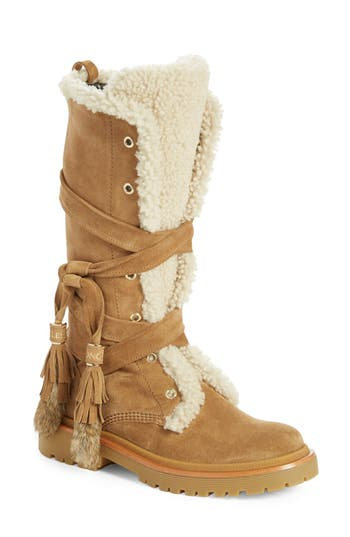 Moncler 'Janis' Genuine Shearling Tall Boot with Genuine Rabbit Fur Trim (Women)