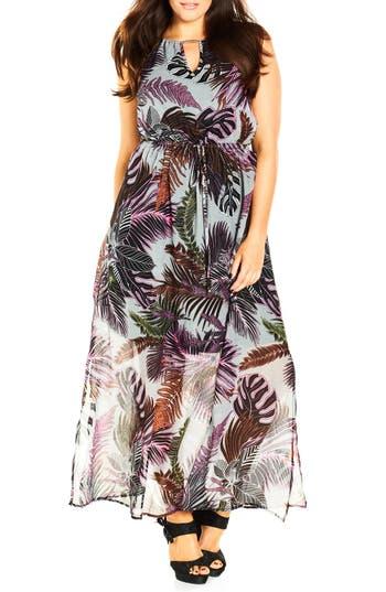 City Chic 'Jungle Kiss' Print Chiffon Halter Style Maxi Dress (Plus Size)