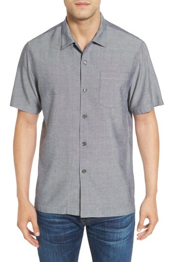 Tommy Bahama 'Ocean' Standard Fit Oxford Silk Camp Shirt
