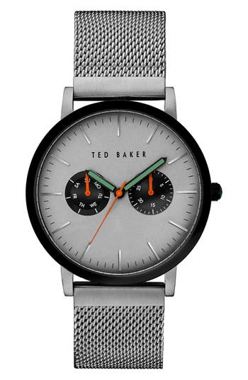 Ted Baker London Multifunction Mesh Bracelet Watch, 40mm