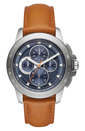 MICHAEL Michael Kors 'Ryker' Chronograph Leather Strap Watch, 43mm