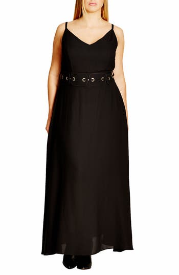 City Chic 'Dreamy' Belted V-Neck Maxi Dress (Plus Size)