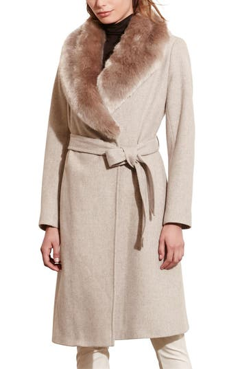 Lauren Ralph Lauren Faux Fur Collar Wool Blend Long Wrap Coat
