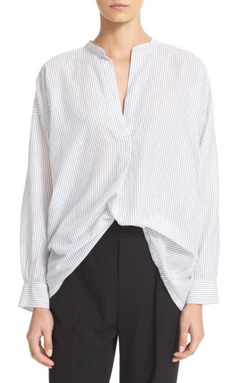 Vince Shirred Back Split Neck Blouse
