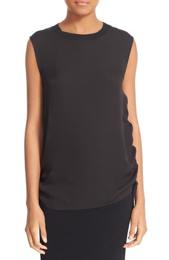 Vince Rib Trim Ruched Silk Tank