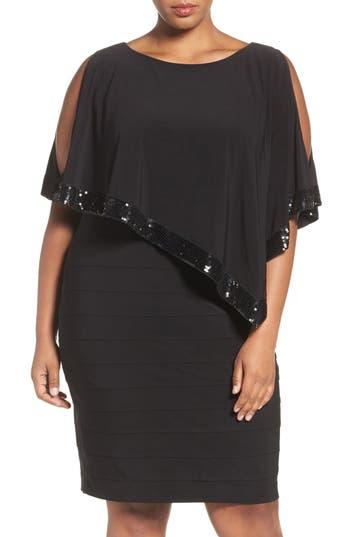Adrianna Papell Cold Shoulder Capelet Dress (Plus Size)