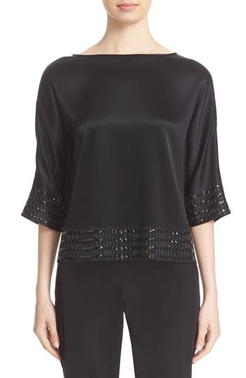 St. John Collection Crystal Embellished Liquid Satin Top