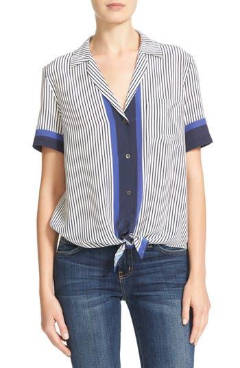 Equipment Kiera Tie Front Stripe Silk Shirt