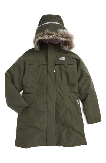 The North Face Arctic Hooded Down Parka with Removable Faux Fur Trim (Big Girls)