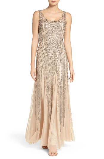 Adrianna Papell Beaded Tank Gown