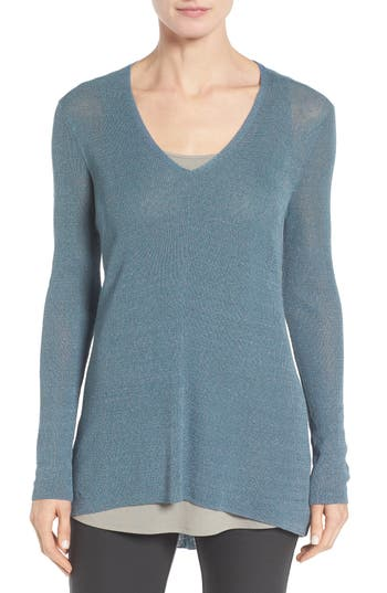 Eileen Fisher Organic Linen Blend V-Neck Sweater (Regular & Petite)