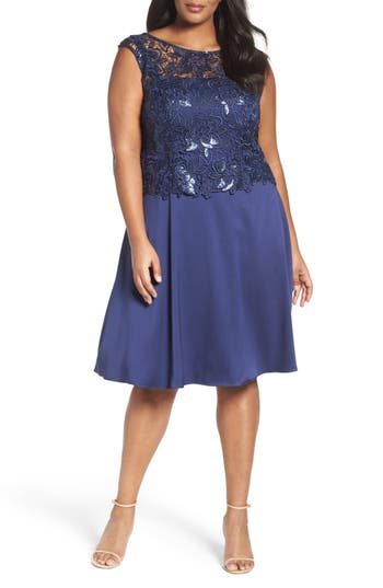 Adrianna Papell Lace Overlay Cocktail Dress (Plus Size)
