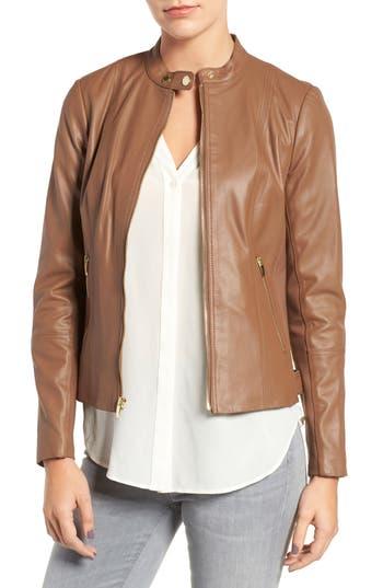 Via Spiga Leather & Ponte Band Collar Jacket