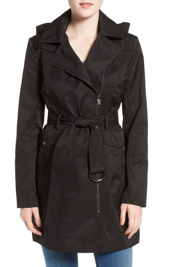 Vince Camuto Belted Asymmetrical Zip Trench Coat