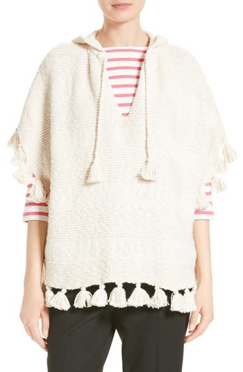 kate spade new york tassel hooded slub cotton poncho