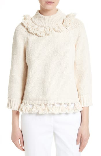 kate spade new york tassel trim slub cotton sweater